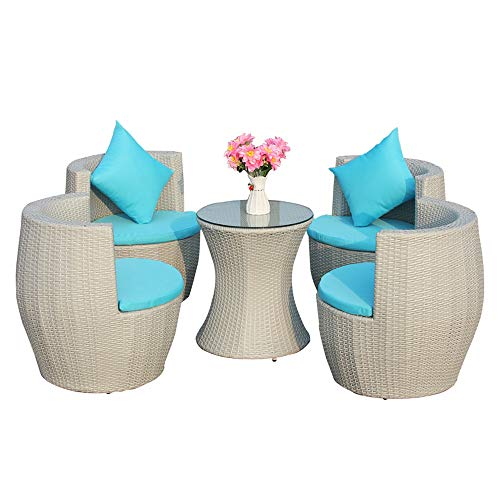 VBARV Terrace rattan table and chair furniture combination, outdoor patio chair with 4 upholstered chairs and coffee table, outdoor furniture suitable for backyard garden lawn chat