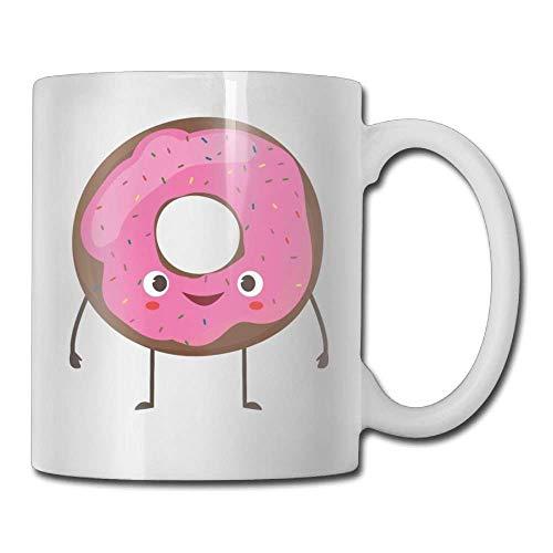 Nisdsgd Cute Smiling Donut Coffee Mugs 11 Oz Birthday Gift Ceramic Tea Cup for Family and Friend 3.14W x 3.74H(8x9.5cm) 16 Oz Tall Iced Tea