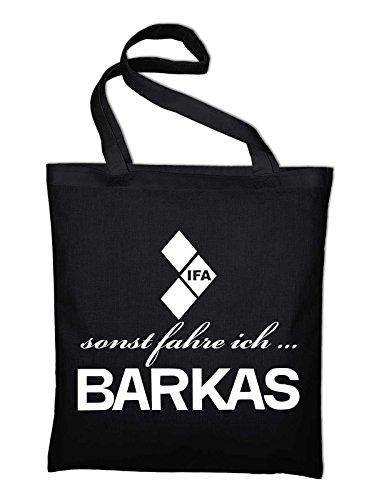 sonst fahre ich Barkas Ifa Logo Jutebeutel, Beutel, Stoffbeutel, Baumwolltasche, natur Schwarz