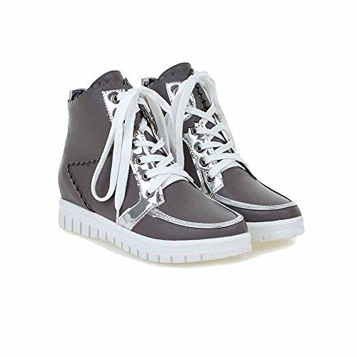 Material Hohe Rund Agoolar Mittler Grau Gemischte Zehe Absatz Damen Stiefel Knöchel Weiches Farbe qt8xREr8w