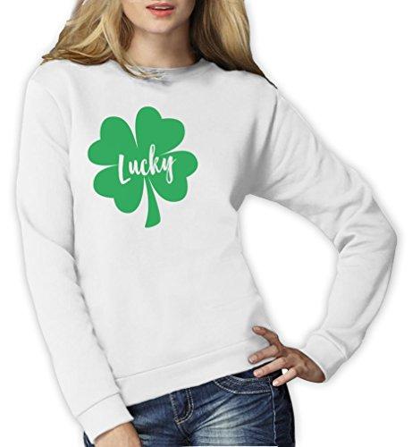 St Patrick's day trèfle - LUCKY Sweatshirt Femme Blanc