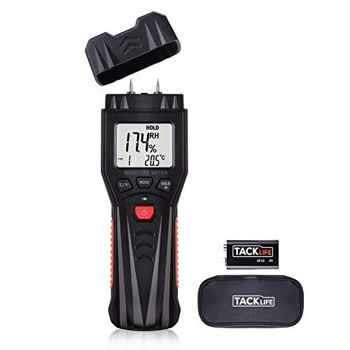 Feuchtigkeitsmessgerät/Feuchtigkeitsmesser Tacklife MWM03 mit Batterie und Ersatzsonden für Holz, Brennholz, Wände, Estrich, Beton und weitere Baumaterialien, Temperatur messen