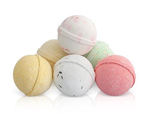 Bombe da Bagno Set Regalo 6 x 100g Sfere Frizzanti Spa con Oli Essenziali Prodotte Artigianalmente nel Regno Unito da Moksha Beauty Aromaterapia