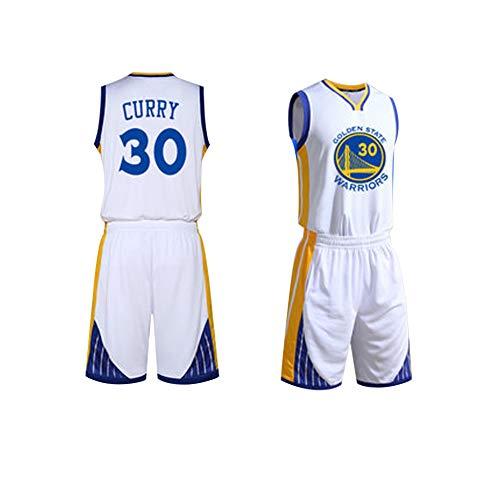 GY NBA # 30 Stephen Curry Basketball Trikot, 90er Jahre Kleidung Kostüm Sportbekleidung Herrenbekleidung, professionelle Basketballuniform, XS-XXXL-White-XS (Für College-jungs Kostüme)