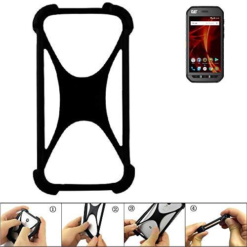 K-S-Trade Handyhülle Caterpillar Cat S41 Dual-SIM Silikon Schutz Hülle Cover Case Bumper Silikoncase TPU Softcase Schutzhülle Smartphone Stoßschutz, schwarz (1x)
