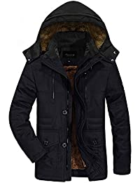Zicac Men's Military Cotton Thicken Removable Hooded Jacket Coat Casual Winter Outerwear With Warm Lining