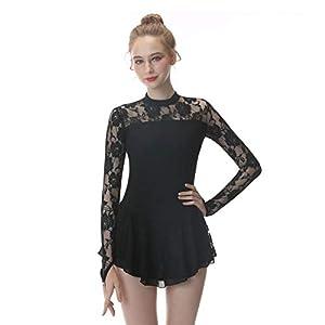 D&uDesign Schwarz Eiskunstlauf Kleid für M?dche Frauen Eislauf Kleider Atmungsaktiv Weich Rollschuhkleid Eiskunstlauf-Kleid Handarbeit Eiskunstlauf Kleid für M?dchen