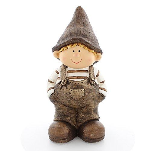 """Frank Flechtwaren, 225494: liebevolle Deko-Figur """"Wichteljunge"""" 41cm groß, aufwändig bemalt in Naturtönen mit Latzhose und Mütze"""