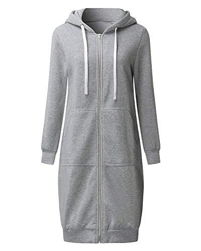 Damen Fleece Top (Eshal Damen Frauen Beiläufige Lange Hülse Volle Zip Up Fleece Hoodies Jumper Warme Strickjacke Jacke Top Sweatshirt Oberbekleidung Langer Mantel (X-Large, Grau))
