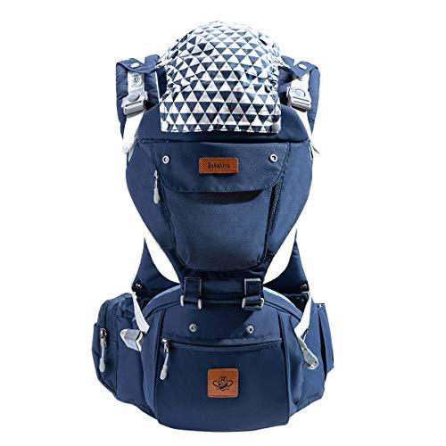 Bebehive Babytrage mit abnehmbarem Sitz und ergonomischer Unterstützung mit Vorder- und Rückseite für Neugeborene bis hin zu Kleinkindern (Drooling Pads und Babyanhänger an Bord) Blau