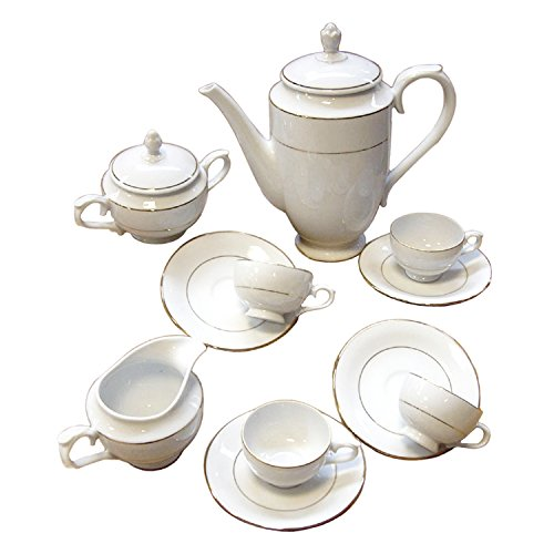 FranquiHOgar Juego DE Cafe 27 Piezas Modelo Bremen Porcelana Blanca Decorada con Dos filos Dorados