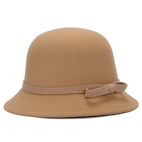 GOUNURE Wollfilz breiter Krempe Eimer Hut Fedora Hüte Damenmode Vintage Elegante Trilby Jazz Cap Cloche Hut mit Schleife -