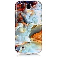 BONROY Coque pour Samsung Galaxy S4 i9500, Marbre Motif Souple TPU Étui Protection Bumper Housse Doux Silicone Gel Ultra Mince Case Cover pour Samsung Galaxy S4 i9500 - (Marbre Nuage YH-feu)