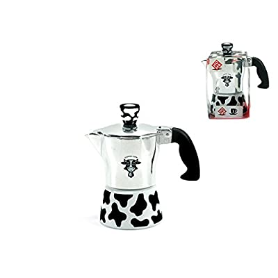 Home Cow Cafetiere Coffee Maker 1 Cup, Aluminium, Silver/Multicoloured, 12 x 7 x 13 cm by Pengo