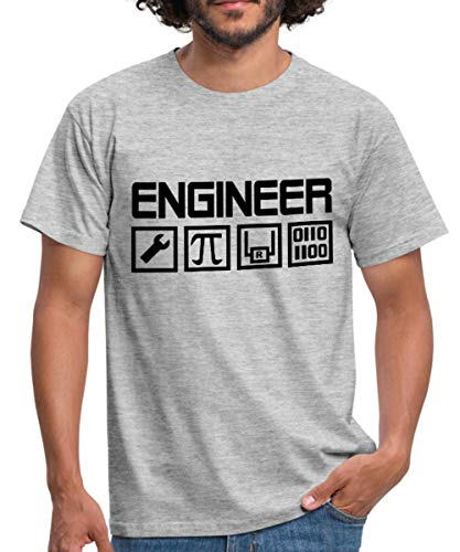 Spreadshirt Engineer Ingenieur Piktogramme Mint Männer T-Shirt, L, Grau meliert