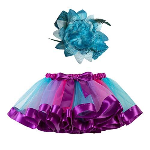 Happy Event Mädchen Kinder Tutu Party Dance Ballett Kleinkind Baby Kostüm Rock + Stirnband Set (2-4 Years-S, Blau)