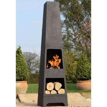 La Hacienda Malmo Steel Chimenea Log Store - Black (Patio Heater)