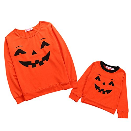 Halloween Kürbis Outfit Familie Matching Kostüme Orange Lächeln Gesicht Mom-Kind Pullover Langarm Shirt Tops Von Shiningup