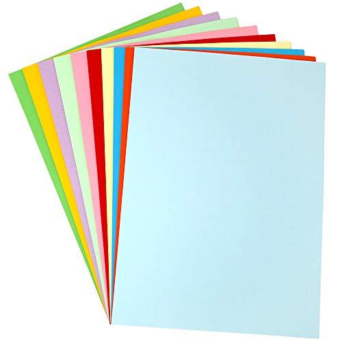 100 Blatt A4 Bunt Papier, 120g/m² Farbigen Kopierpapier Papier, 10 Farben Farbkopierpapier, Bastel-Papier zum DIY, Basteln Papierblumen, Durchzeichnen und Skizzieren (Farbigen)