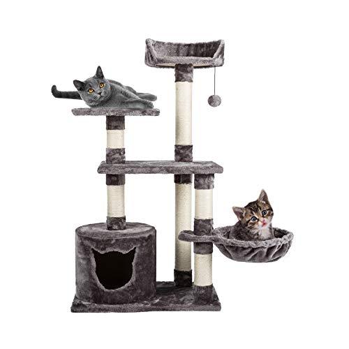 Gemeinsa Árbol de Gato Condominio para Gatito Torre Gato Mueble con Rascador Columna de Sisal & Juguetes con Hamaca y Escondite