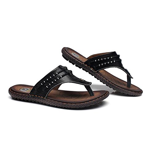 Mr.LQ Sandali per Uomo Soft TPR Suola Summer Fashion Daily Leather Beach Flip-Flop Black
