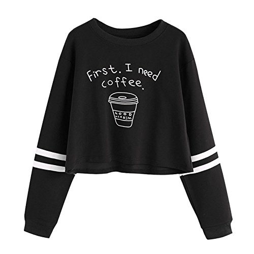 03d7490573e9 Femme Sweat-Shirt à Manches Longues Mode   First I Need Coffee