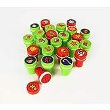 MegaCrea DIY Stempel mit Stempelkissen integriert Weihnachten rot, grün 1,8cm x 24 Stk.