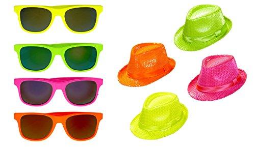 Panelize® 4X Partybrille + 4X Partyhut 80er Jahre neon Wayfarer Neonbrille Neonhut Mallorcaparty Malle