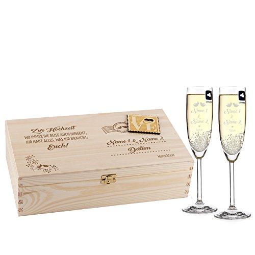 Leonardo 2 Sektgläser zur Hochzeit mit Gravur in Loveletter Holz-Geschenkbox