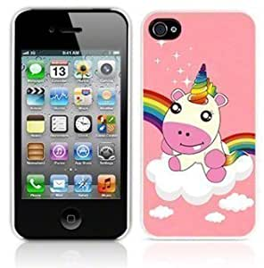 Consumer Store Coque pour iPhone 4/4S Motif Licorne et arc-en-ciel Rose brillant