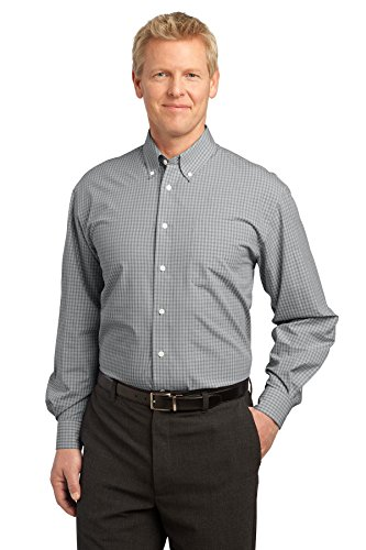 Port Authority® Plaid Pattern Easy Care Shirt. S639 Charcoal M -