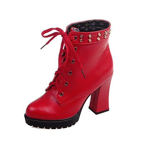 AgooLar Damen Schnüren Hoher Absatz PU Rein Knöchel Hohe Stiefel mit Metalldekoration, Rot, 39