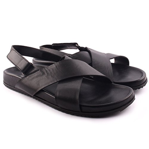 Unze Herren 'Fin' Leder Cross Over Wide Strap Klettverschluss Sommer Festival Beach Party Open Toe Flache Sandalen UK Größe 7-11 - 280-031A Schwarz
