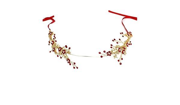 Yazilind Mode diad/ème /él/égant Rouge Snowflake Strass Arbre Branche mari/ée Hairband Femmes Filles Accessoires de Cheveux pour la f/ête de Mariage