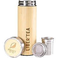 Project libertea bambú–Taza de té 450ml termo té to go con colador Coffee Mug Tapa de acero inoxidable Buen utilizar con