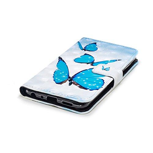 Coque Huawei P Smart,Surakey Huawei P Smart étui à Rabat en Cuir, Imprimé Coloré Motif Etui Housse Cuir PU Portefeuille Folio Flip Case Cover Wallet Coque pour Huawei P Smart (Papillon Bleu)