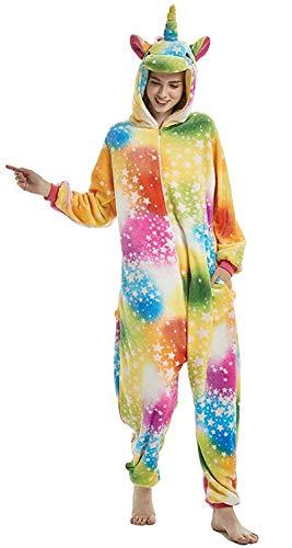 CozofLuv Tier Pyjamas Kostüm Nachtwäsche Cosplay Kostüme Einhorn Rentier Pyjamas für Erwachsene Anzug Outfit (Regenbogen-Einhorn, XL(178-190cm))