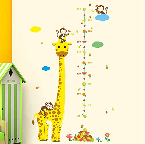 Preisvergleich Produktbild XQWZM Cartoon Jungle Animals Monkey Giraffe Children Height Measure Wall Stickers for Kids Room Wall Sticker Home Decoration
