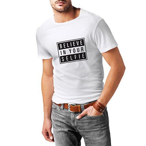 N4156 Believe in your Selfie funny gift, t-shirt Weiß Schwarz