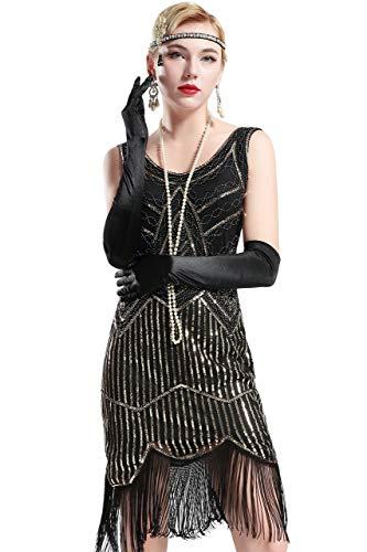 BABEYOND Retro 1920s Stil Damen Kleid Karneval Flapper Kleid V Ausschnitt Troddel Gatsby Mottoparty Damen Kostüm Kleid (Schwarz und Gold, XS) (Fransen-kleid-gold)