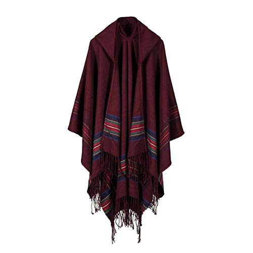 MJSP Women's Thick Color Strip Jacquard Shawl Wear Warm Long Fashion Hooded Cape Hooded Jacket,Wine red,One Size Red Hooded Capes