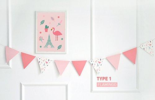 Deko Girlande, Banner mit Ein Farbgebung Postkarte für Hochzeit Decor Party Decor Home Decor etc. Flag_Pink Flamingo ()