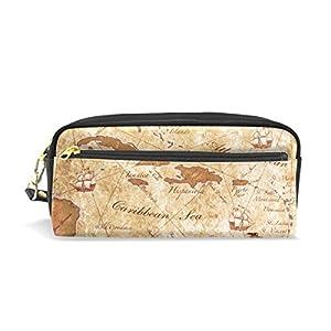mydaily Vintage estuche antigua aventura mapa lápiz bolsa de cosméticos bolso de la bolsa del monedero