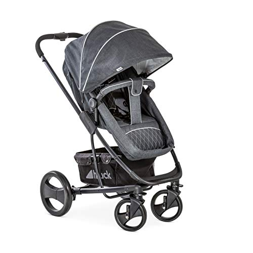 Hauck Pacific 4 Shop N Drive, Lightweight Pushchair Set with Group 0 Car Seat, Carrycot Convertible to Reversible Seat, Footmuff, Large Wheels, From Birth to 25 kg, Melange Charcoal  Hauck Fun for Kids Ltd
