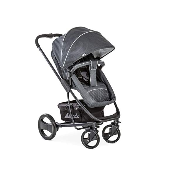 Hauck Pacific 4 Shop N Drive, Lightweight Pushchair Set with Group 0 Car Seat, Carrycot Convertible to Reversible Seat, Footmuff, Large Wheels, From Birth to 25 kg, Melange Charcoal Hauck  3