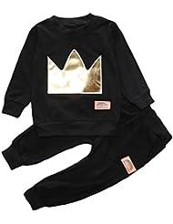 V-SOL Jersey Suéter/Pantalones Traje Niño para Invierno Negro