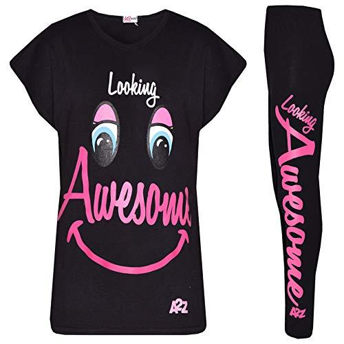 Awesome Top Kostüm 10 - A2Z 4 Kinder Mädchen Top & Legging Kinder - Looking Awesome Satz Schwarz 9-10