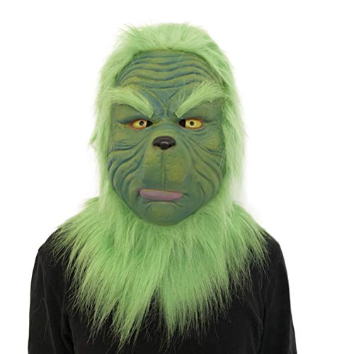 1Buy Lustige Weihnachten Neujahr Party Grinch Cosplay Die Grinch Maske Schmelzen Gesicht Latex Kostüm Sammlerstück Prop Scary Maske Spielzeug Geschenk Dekorationen