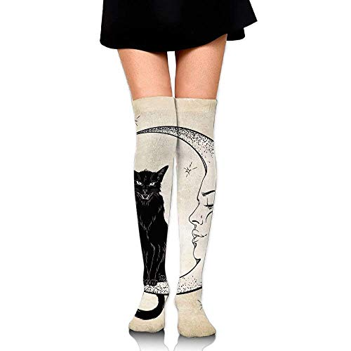 OQUYCZ Women's Black Cat Sitting on White Crescent Moon Contrasting Facial Expressions Feline Concision Knee High Socks