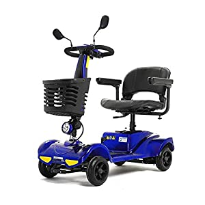 HOPELJ Electric Folding Mobility Scooter,Travel Car Boot Scooter 4 Wheeled 270W 4.9Mph 12.4 Miles Range 20AH Lithium Battery,Blue